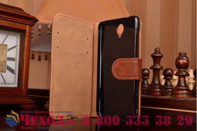 Фирменный чехол-книжка из качественной импортной кожи с мульти-подставкой застёжкой и визитницей для Алкател Ван Тач Идол 2 ОТ 6037 Ю/К/Б коричневый