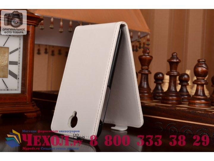 Фирменный оригинальный вертикальный откидной чехол-флип для Alcatel One Touch Idol 2 OT 6037Y/K/B  белый кожан..