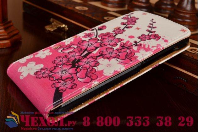 "Фирменный вертикальный откидной чехол-флип для Alcatel One Touch Idol 2 OT 6037Y/K/B  ""тематика Цветок Вишни"""