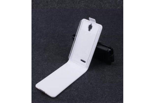 """Фирменный оригинальный вертикальный откидной чехол-флип для Alcatel Idol 2 Mini 6016A/D/X белый из натуральной кожи """"Prestige"""" Италия"""