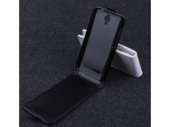 Фирменный оригинальный вертикальный откидной чехол-флип для Alcatel Idol 2 Mini 6016A/D/X черный кожаный..