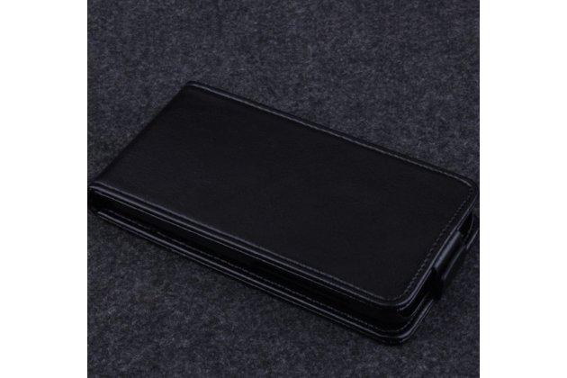 Фирменный оригинальный вертикальный откидной чехол-флип для Alcatel Idol 2 Mini 6016A/D/X черный кожаный