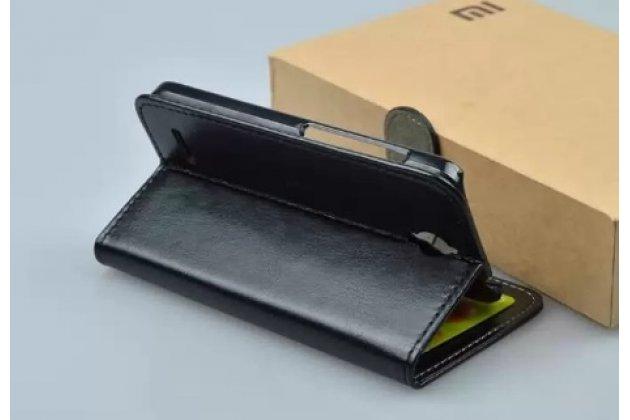 Фирменный чехол-книжка из качественной импортной кожи с мульти-подставкой застёжкой и визитницей для Алкатель Идол 2 Мини 6016А/Д/Х/Икс черный