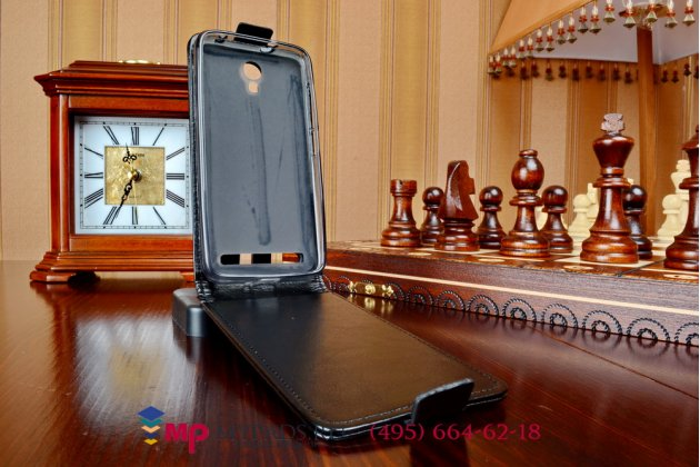 """Фирменный оригинальный вертикальный откидной чехол-флип для Alcatel Idol 2 Mini S 6036Y / 6016D черный кожаный """"Prestige"""" Италия"""