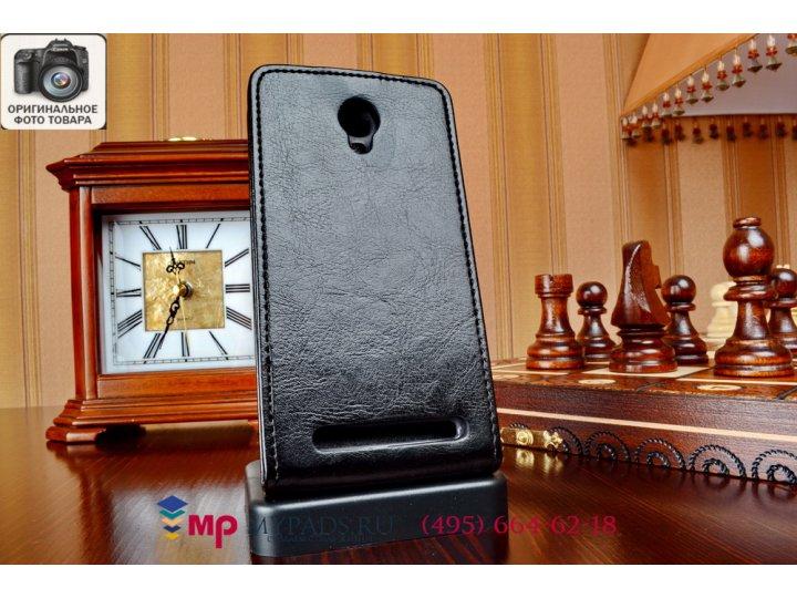 Фирменный оригинальный вертикальный откидной чехол-флип для Alcatel Idol 2 Mini S 6036Y / 6016D черный кожаный..