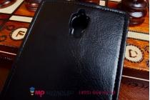 """Фирменный оригинальный вертикальный откидной чехол-флип для Alcatel One Touch Idol X 6040X/6040D черный из качественной импортной кожи """"Prestige"""" Италия"""