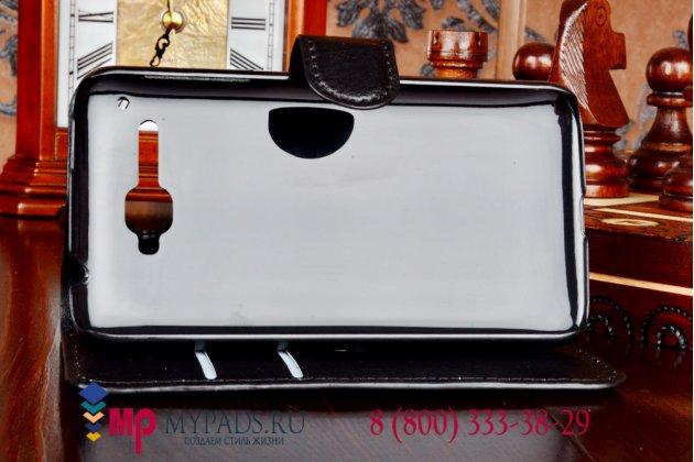 Фирменный чехол-книжка из качественной импортной кожи с подставкой застёжкой и визитницей для Alcatel One Touch X'POP 5035D черный