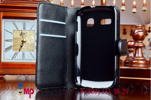Фирменный чехол-книжка из качественной импортной кожи с подставкой застёжкой и визитницей для Alcatel POP C3 4033D черный