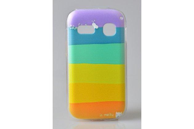 """Фирменная необычная из легчайшего и тончайшего пластика задняя панель-чехол-накладка для Alcatel POP C3 4033D """"тематика Все цвета Радуги"""""""
