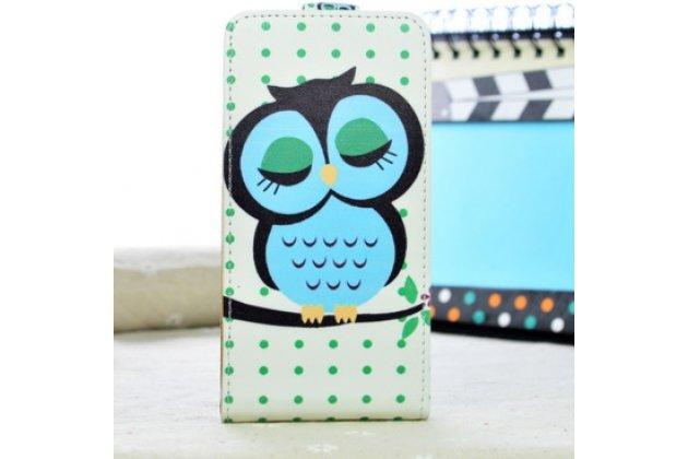 """Фирменный вертикальный откидной чехол-флип для Alcatel POP C3 4033D """"тематика Сова"""""""