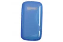 Фирменная ультра-тонкая полимерная из мягкого качественного силикона задняя панель-чехол-накладка для Alcatel OneTouch Pop C5 5036D/X голубая
