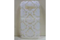 Фирменная роскошная задняя панель-чехол-накладка с расписным узором для Alcatel OneTouch Pop C5 5036D/X  прозрачная белая