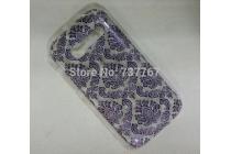 Фирменная роскошная задняя панель-чехол-накладка с расписным узором для Alcatel OneTouch Pop C5 5036D/X  прозрачная черная