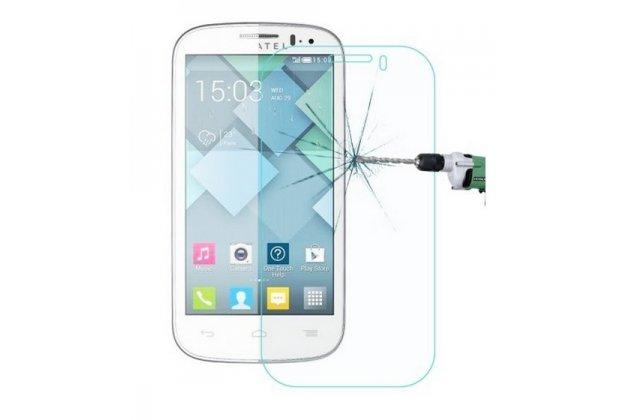 Фирменное защитное закалённое противоударное стекло премиум-класса из качественного японского материала с олеофобным покрытием для Alcatel OneTouch Pop C5 5036D/X