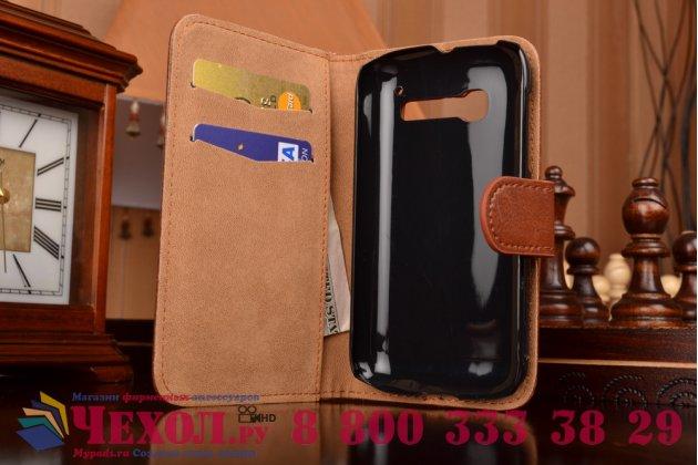 Фирменный чехол-книжка из качественной импортной кожи с мульти-подставкой застёжкой и визитницей для Алкател Ван Тач Поп Ц5 5036 Д/Х коричневый