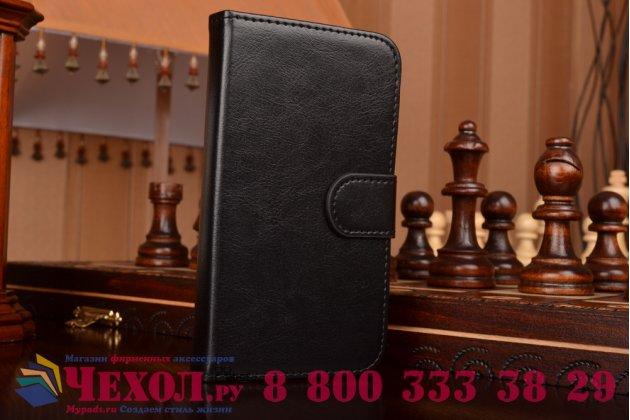 Фирменный чехол-книжка из качественной импортной кожи с мульти-подставкой застёжкой и визитницей для Алкатель Ван Тач Поп С5  5036Д/Х черный