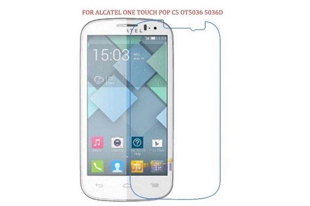 Фирменная оригинальная защитная пленка для телефона Alcatel OneTouch Pop C5 5036D/X  глянцевая