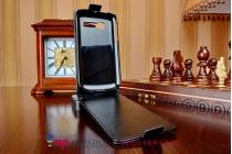"""Фирменный оригинальный вертикальный откидной чехол-флип для Alcatel OneTouch Pop C5 5036D/X черный кожаный """"Prestige"""" Италия"""