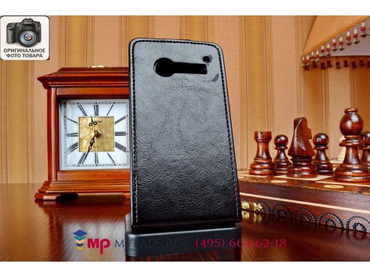 Фирменный оригинальный вертикальный откидной чехол-флип для Alcatel OneTouch Pop C5 5036D/X черный кожаный