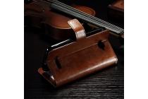 Фирменный чехол-книжка из качественной импортной кожи с мульти-подставкой застёжкой и визитницей для Алкатэль ПОП С7 7041Д коричневый