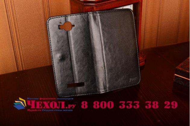 Фирменный чехол-книжка из качественной импортной кожи с мульти-подставкой застёжкой и визитницей для Алкатэль ПОП С7 7041Д черный