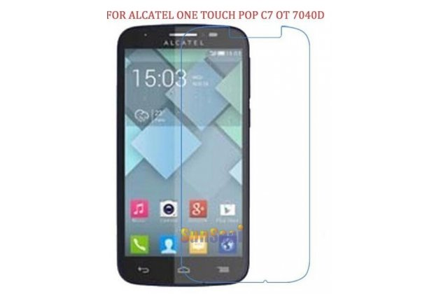 Фирменная оригинальная защитная пленка для телефона Alcatel One Touch POP C7 7040D/7041D глянцевая