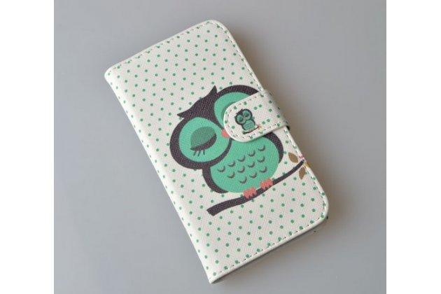 """Фирменный уникальный необычный чехол-книжка для Alcatel POP C7 7041D  """"тематика Сова"""""""