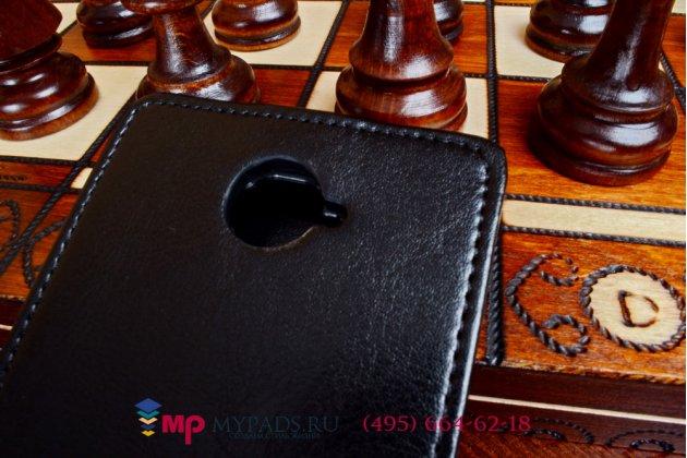 """Фирменный оригинальный вертикальный откидной чехол-флип для Alcatel One Touch POP C7 7040D/7041D черный кожаный """"Prestige"""" Италия"""