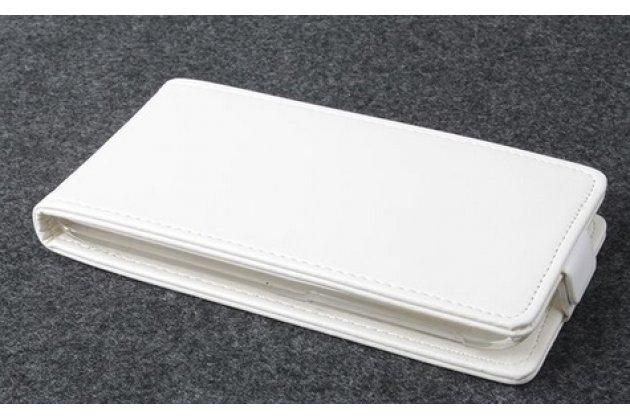 """Фирменный оригинальный вертикальный откидной чехол-флип для Alcatel POP C7 7041D  Classic белый кожаный """"Prestige"""" Италия"""