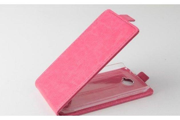"""Фирменный оригинальный вертикальный откидной чехол-флип для Alcatel POP C7 7041D  Classic розовый кожаный """"Prestige"""" Италия"""