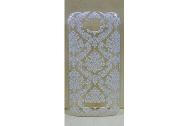 Фирменная роскошная задняя панель-чехол-накладка с расписным узором для Alcatel POP C7 7041D прозрачная белая