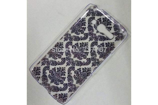 Фирменная роскошная задняя панель-чехол-накладка с расписным узором для Alcatel POP C9 7047D  прозрачная черная