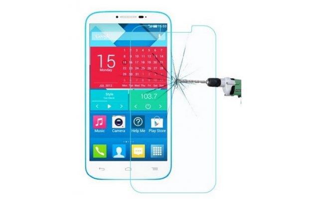 Фирменное защитное закалённое противоударное стекло премиум-класса из качественного японского материала с олеофобным покрытием для Alcatel POP C9 7047D