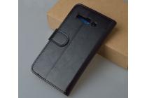 Фирменный чехол-книжка из качественной импортной кожи с мульти-подставкой застёжкой и визитницей для Алкател Поп С9 7047Д черный