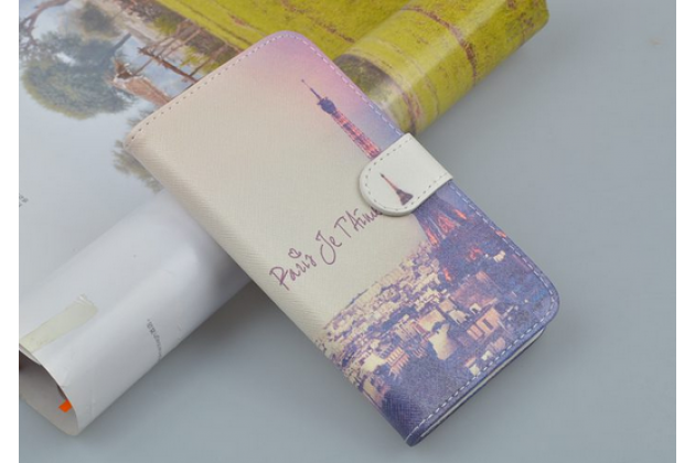 """Фирменный уникальный необычный чехол-подставка с визитницей кармашком для Alcatel POP C9 7047D   """"тематика Франция"""""""