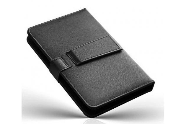 Фирменный чехол со встроенной клавиатурой для телефона Alcatel POP C9 7047D 5.5 дюймов черный кожаный + гарантия