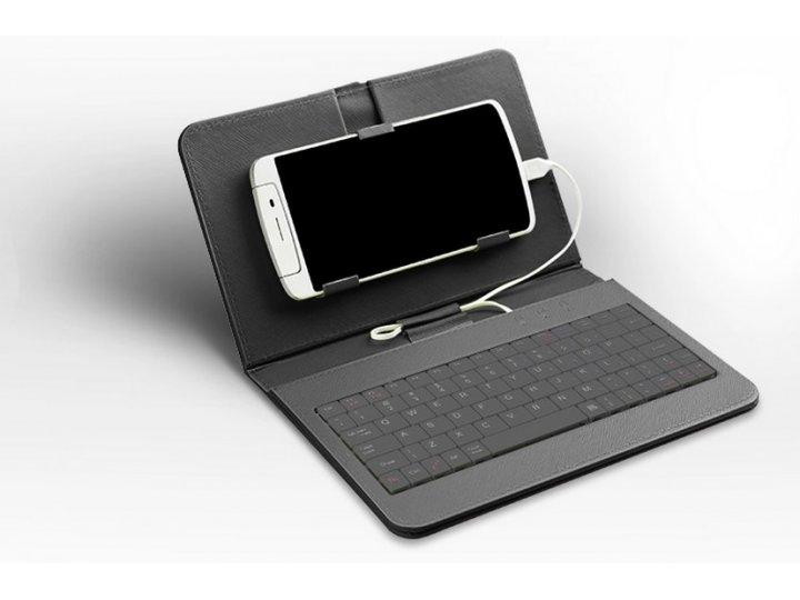 Фирменный чехол со встроенной клавиатурой для телефона Alcatel POP C9 7047D 5.5 дюймов черный кожаный + гарант..