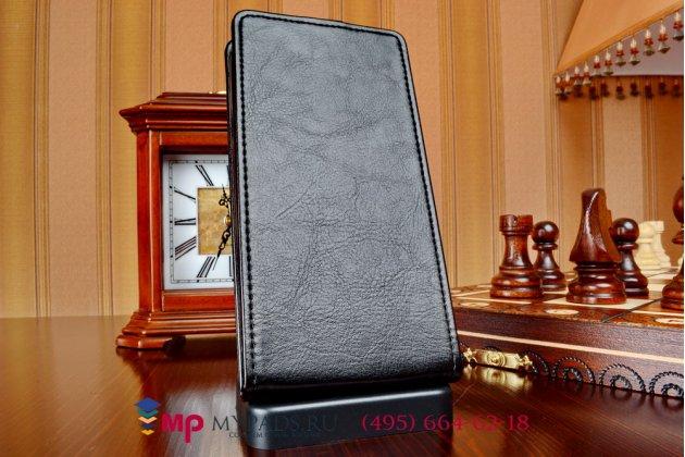 """Фирменный оригинальный вертикальный откидной чехол-флип для Alcatel One Touch Pop C9 7047D черный из качественной импортной кожи """"Prestige"""" Италия"""