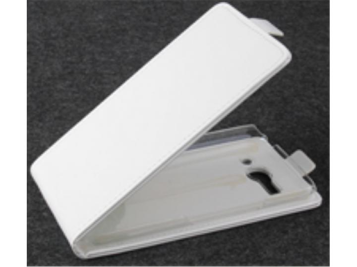 Фирменный оригинальный вертикальный откидной чехол-флип для Alcatel POP C9 7047D белый кожаный