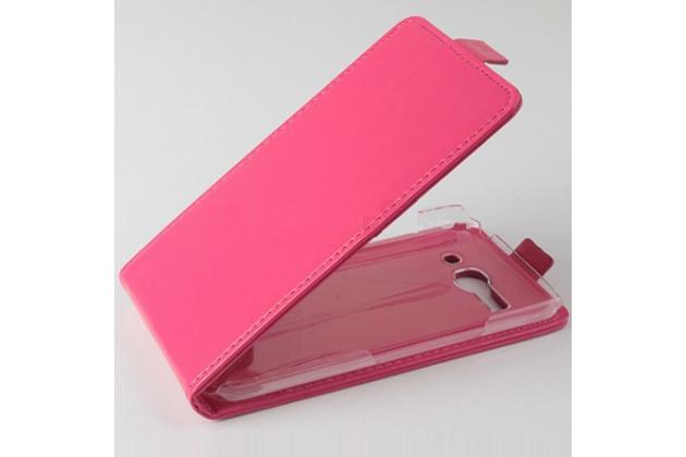 """Фирменный оригинальный вертикальный откидной чехол-флип для Alcatel POP C9 7047D розовый кожаный """"Prestige"""" Италия"""