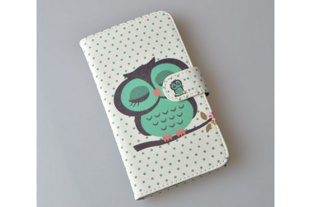 """Фирменный уникальный необычный чехол-книжка для Alcatel POP C9 7047D """"тематика Сова"""""""