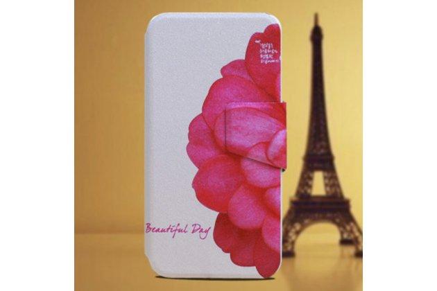 """Фирменный уникальный необычный чехол-книжка для Alcatel One Touch Pop D5 5038E / 5038D """"тематика цветок Сакуры"""""""