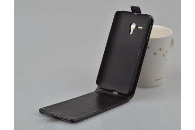 """Фирменный оригинальный вертикальный откидной чехол-флип для Alcatel One Touch Pop D5 5038E / 5038D черный из натуральной кожи """"Prestige"""" Италия"""