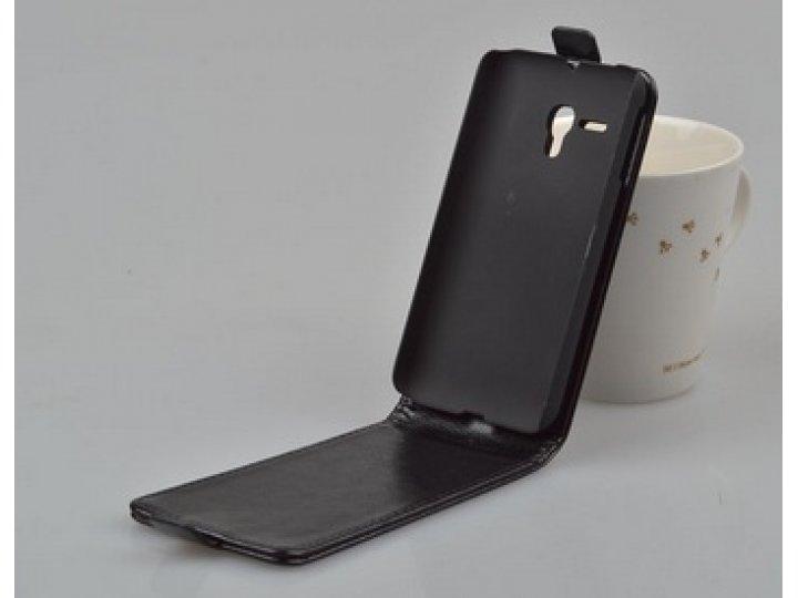 Фирменный оригинальный вертикальный откидной чехол-флип для Alcatel One Touch Pop D5 5038E / 5038D черный из н..