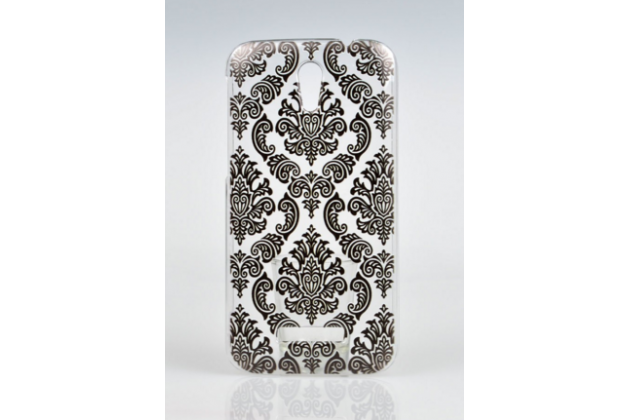 Фирменная роскошная задняя панель-чехол-накладка с расписным узором для Alcatel One Touch Pop D5 5038E / 5038D прозрачная черная