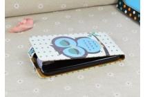 """Фирменный вертикальный откидной чехол-флип для Alcatel One Touch Pop D5 5038E / 5038D  """"тематика Сова"""""""