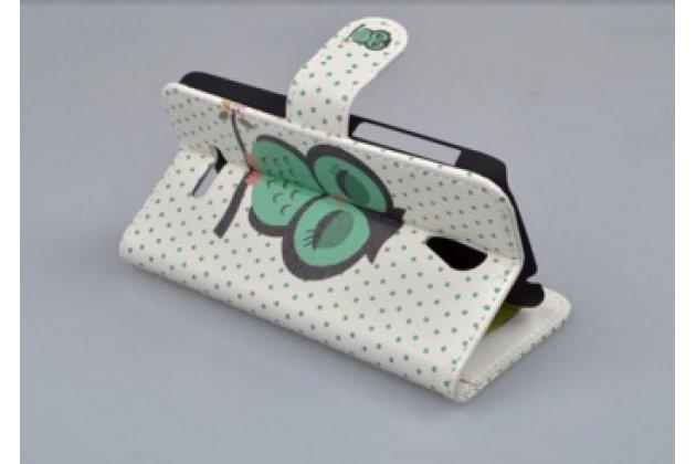 """Фирменный уникальный необычный чехол-книжка для  Alcatel Pop S3 5050Y/X  """"тематика Сова"""""""