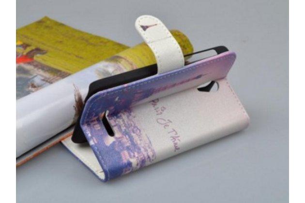 """Фирменный уникальный необычный чехол-подставка для for Alcatel Pop S3 5050Y/X """"тематика Париж"""""""