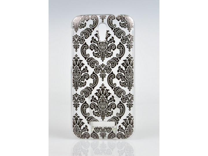 Фирменная роскошная задняя панель-чехол-накладка с расписным узором для Alcatel Pop S7 7045Y прозрачная черная..