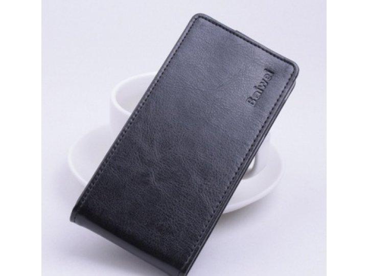 Фирменный оригинальный вертикальный откидной чехол-флип для Alcatel Pop S9 7050Y черный из натуральной кожи